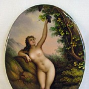 "HP Nude ""Woman Picking Grapes"" Painting on Porcelain"