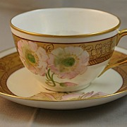 Pickard Twin Pink Poppy Cup & Saucer