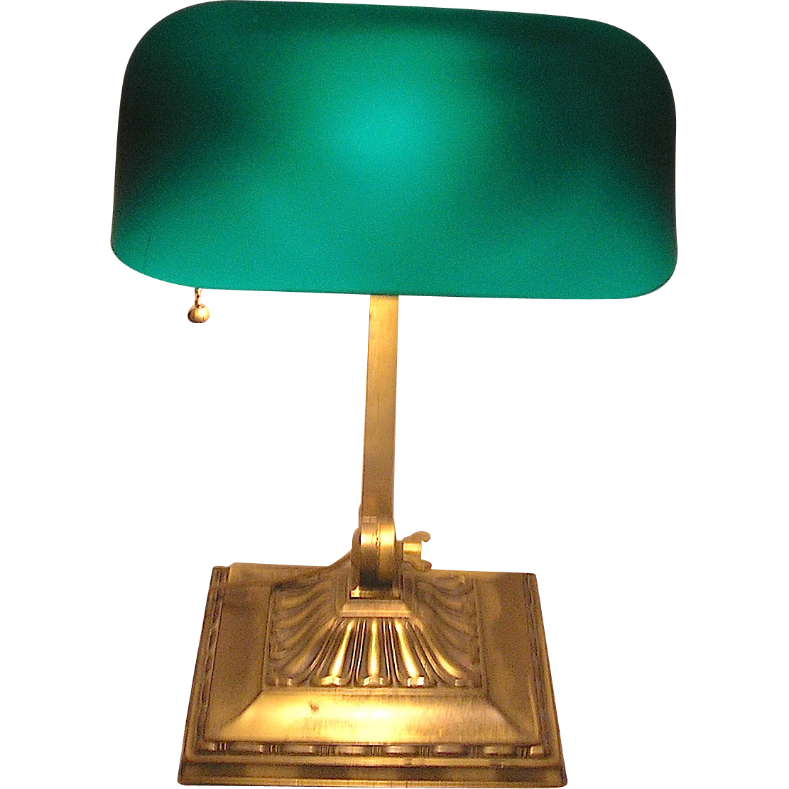 emeralite banker 39 s lamp all original stamped brass plated base from rubylane sold on ruby lane. Black Bedroom Furniture Sets. Home Design Ideas