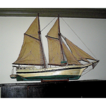Vintage model boat, sailboat, including sails, hand made 1920