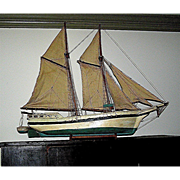 SALE Vintage model boat, sailboat, including sails, hand made 1920