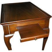 Furniture: Vintage mahogany tea table, colonial revival, applied shelves, 1920, documented