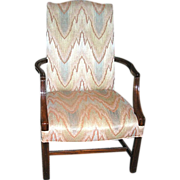 SALE Arm Chair: Southwood Furniture Corp.-Flame upholstery, Mahogany,  c.1975