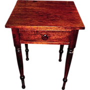 Antique cherry, single drawer, side table, solid one board top, c.1820