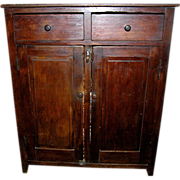Antique walnut cupboard, primitive, two drawers over two doors, 1820 rare