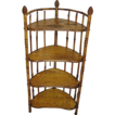 Antique bamboo corner shelf, curved, 19th c. very rare