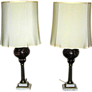 Antique Lamps, pair, bohemian cut crystal, ruby to clear, 1890-1930