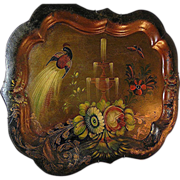Antique tole tray, chippendale style, c.1885