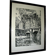 SALE Vintage print, Etching by Albert Devaris, Paris Scene
