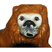 Staffordshire Lion Figurine Glass Eyes c1895