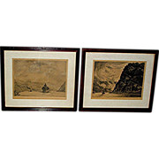 Vintage lithography prints, signed and dated 1922, in original frames