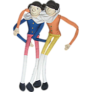 Vintage Toy dolls,  a pair, Twist and Tie Men from Colonial Williamsburg