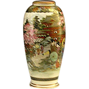 Satsuma, signed, and hall-marked vase, Court Ladies, Geishas, Pastoral Scene, c.1900