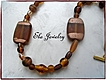 Brown Art Glass Rectangle Bead Necklace