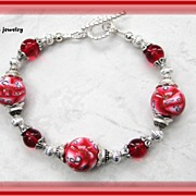 Red and White Polymer Clay Bracelet
