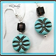 Turquoise Green and Brown Earrings