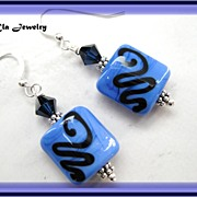 Shades of Blue Lampwork Earrings