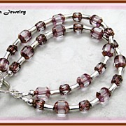 Two Strand Pink Glass Bead Bracelet