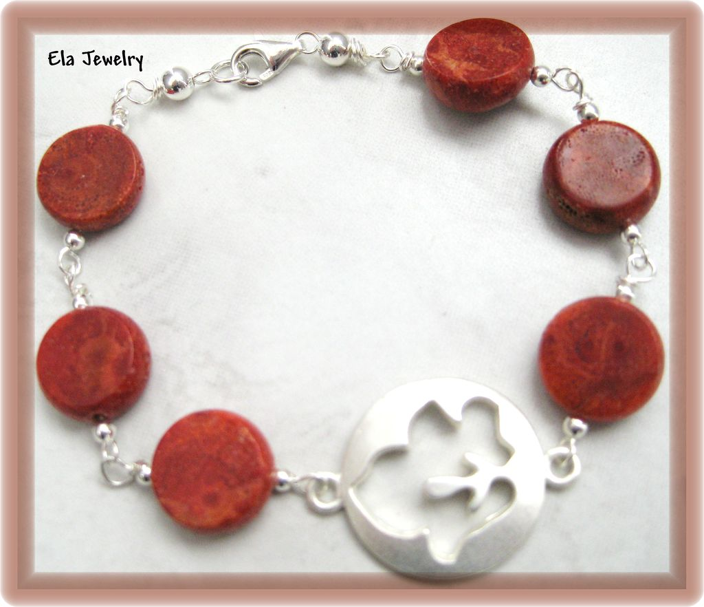 Sponge Coral and Silver Leaf Bracelet