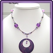 Purple Swirl Resin Pendant Necklace