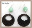 Dark Wood and Amazonite Earrings