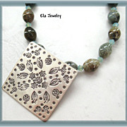 Hill Tribe Silver Pendant with Spotted Jasper Necklace