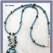 Cascading Lampwork and Swarovski Crystal Pendant Necklace