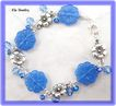 Pale Blue Glass Flower Charm Bracelet