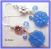 Blue Glass Flower Beaded Earrings
