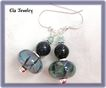 Blue and Green Artisan Lampwork with Blue Goldstone Earrings
