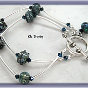 Unique Blue/Black Lampwork and Silver Tube Two Strand Bracelet
