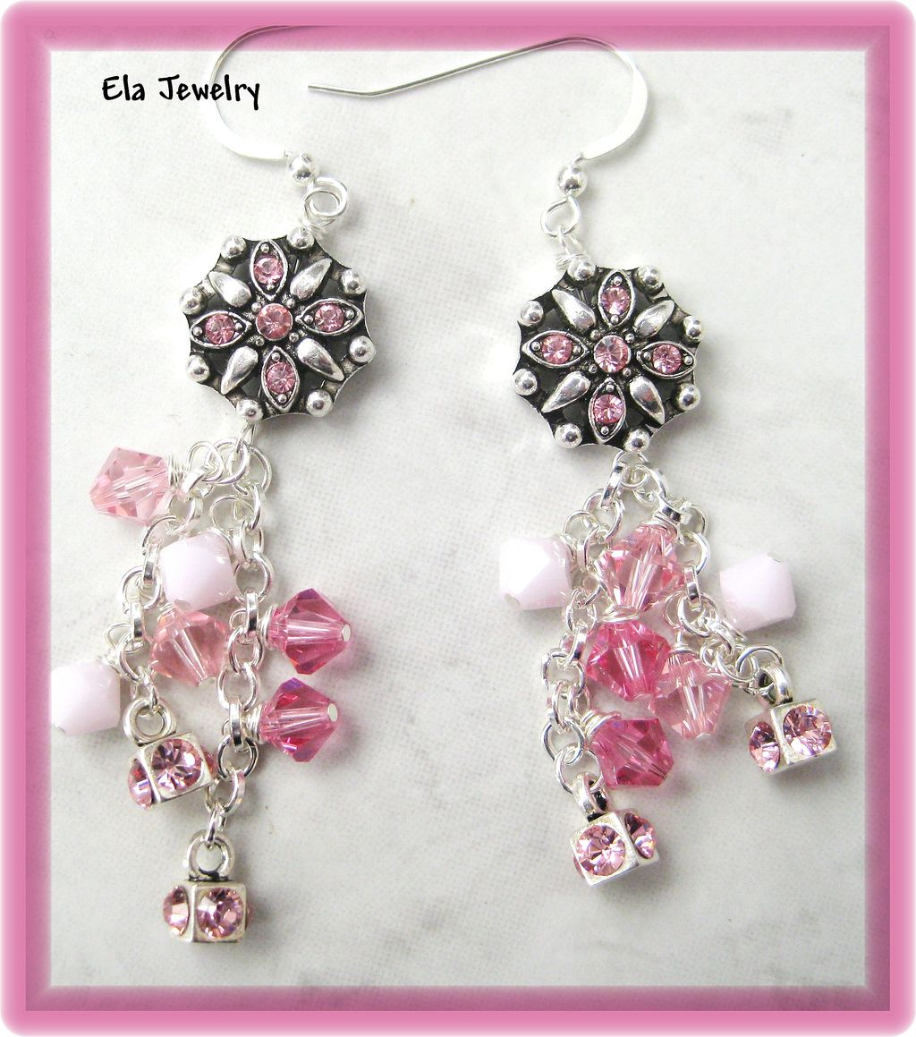 Clusters of Swarovski Crystals in Pink Earrings