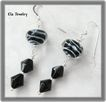 Black and White Stripe Lampwork Glass Earrings