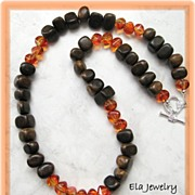 Brown Wood Nuggets with Orange Bead Necklace