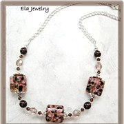 Artisan Lampwork Beads with Swarovski Crystals and Pearls Necklace