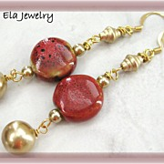 Red Porcelain Coin Beads with Glass Pearl Earrings