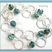Two Strand Silver Links and Green Glass Bracelet