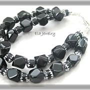 Two Strand Black Glass Bracelet