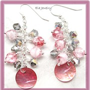 Pink Shell Disk with Cascading Czech Glass and Crystal Beaded Earrings