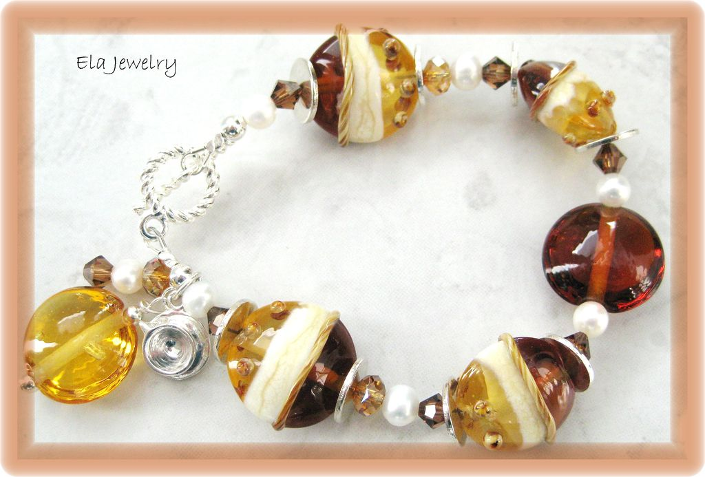 Brown and Cream Lampwork Bracelet