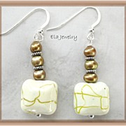 ~Sunshine~ Pale Yellow Glass Beads with Freshwater Pearl Earrings