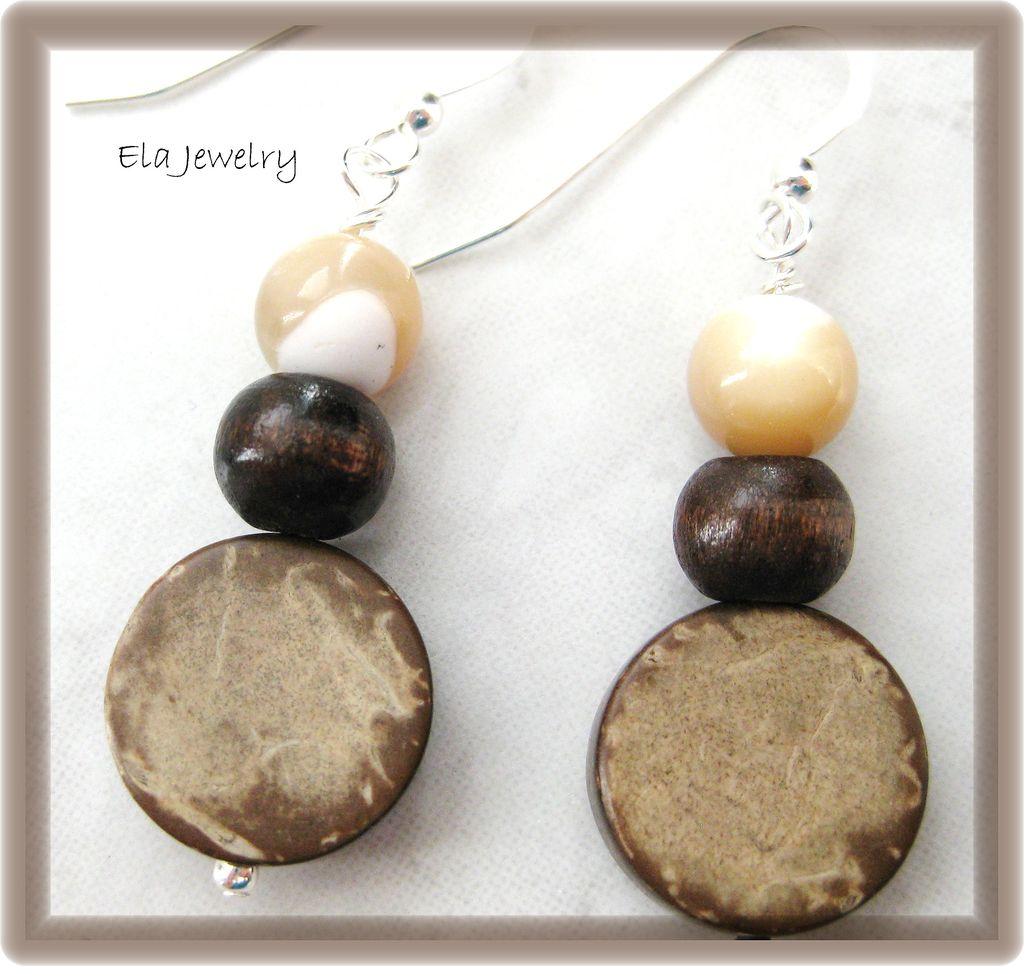 Coconut Wood Coin with Mother of Pearl and Wood Bead Earrings