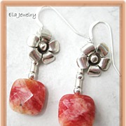 Sterling Silver Flower with Orange Pink Pillow Bead Earrings