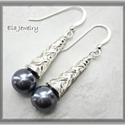 Dark Grey Glass Pearl with Silver Bead Cap Earrings