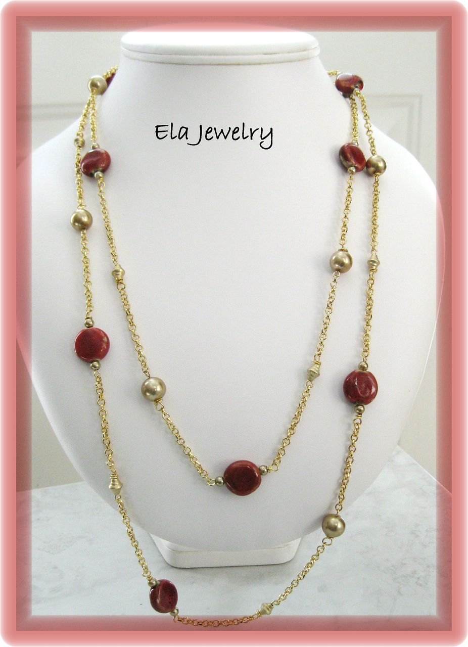 Two Strand Long Necklace in Reds and Golds