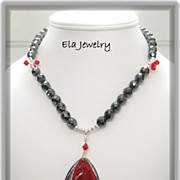 Dark Grey Faceted Glass Bead with Red and Gray Pendant Necklace