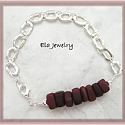 Dark Wine Sea Glass with Sterling Silver Links Bracelet