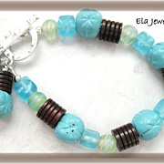 Blue Glass Bead with Dark Brown Wood Bracelet