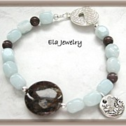 Pietersite Coin and Amazonite Nugget Bead Bracelet