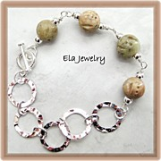 Silver Hammered Links with Soapstone Carved Bead Bracelet